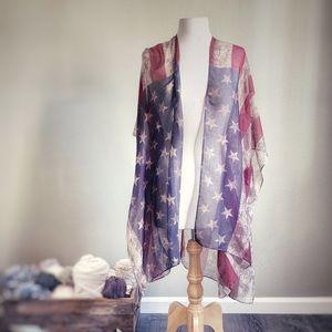 Sweaters - Vintage Boho American Flag Kimono • Stagecoach